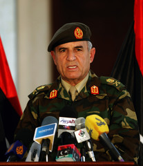 Yousef al-Manqoush, Chief of Staff of the Libyan Armed Forces, speaks at a news conference in Tripoli