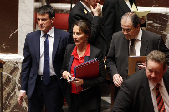 French Prime Minister Valls, Ecology, Sustainable Development and Energy Minister Royal and Cambadlis, head of French Socialist Party, arrive to attend a session to present the 50 billion euro savings plan ahead of a vote at the national assembly in Paris