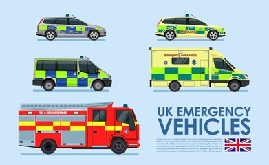 UK Emergency vehicles cars, police car, ambulance van, fire truck isolated on blue background