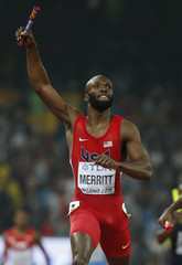 Merrit from the U.S. reacts after winning the men's 4x400m event during the 15th IAAF World Championships at the National Stadium in Beijing