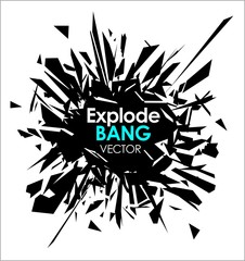 Abstract slow motion explode broken glass particle vector design element