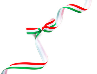 Ribbon bow in colors of Hungarian flag on white background