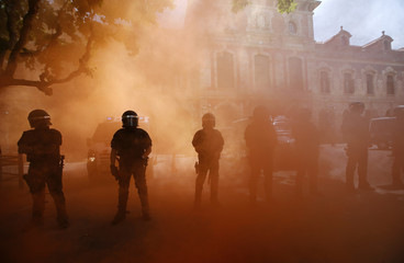 Riot police stand among red smoke during a protest by firemen against budgets cuts next to Catalunya's Parliament in Barcelona