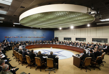 NATO defence ministers hold a meeting at the alliance headquarters in Brussels