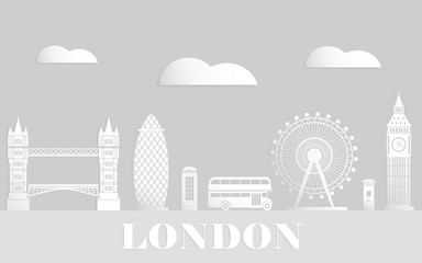 London travel style vector flat. White paper art style