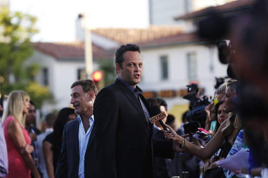 """Cast member Vaughn is interviewed at the premiere of """"The Internship"""" in Los Angeles"""