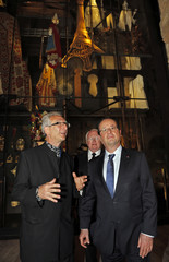 French President Hollande and exhibition commissioner Gourarier visit the Saint-Jean chapel before the opening of the Museum of Civilizations from Europe and the Mediterranean in Marseille