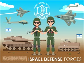 Israel defense forces army banner or poster. IDF soldiers also battle tanks & jets plane in a Israel desert