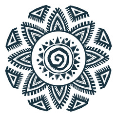 Ethnic style vector hand drawn sun mandala
