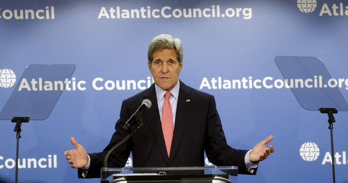 """Kerry speaks at an Atlantic Council discussion on """"Trade and National Security: Renewing U.S. Leadership Through Economic Strength"""" in Washington"""