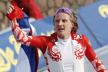 Skobrev of Russia celebrates after winning the men's 10000 metres to win the European Speed Skating Championships in Collalbo