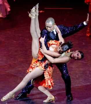 Members of the Colombian dance group Swing Latino perform in Bogota