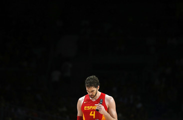 Spain's Pau Gasol reacts during their Basketball World Cup quarter-final game against France in Madrid