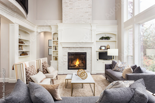 Beautiful Living Room In New Luxury Home With Fireplace And Roaring Inspiration Beautiful Living Room