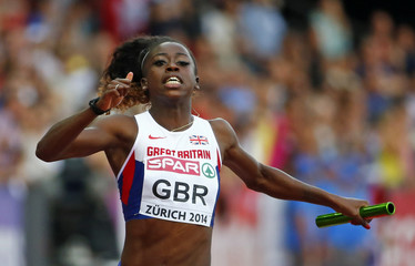 Henry of Britain reacts winning the women's 4 x 100 metres final during the European Athletics Championships at the Letzigrund Stadium in Zurich