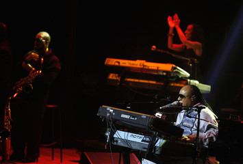 U.S. singer Stevie Wonder performs during a concert in Rio de Janeiro
