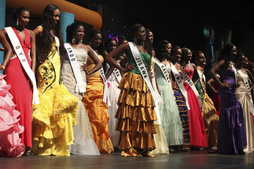 Contestants pose on the stage during the 24th edition of the Most Beautiful Girl in Nigeria(MGBN) beauty pageant in Lagos