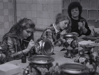 File photo of female inmates making samovars, ornaments and traditional teapots at penal colony number 54