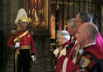 Britain's Queen Elizabeth looks on during a Service of the Order of the Bath at Westminster Abbey in London