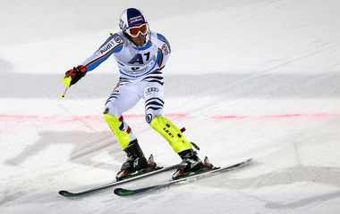 Dopfer of Germany crosses the finish line in the men's Alpine Skiing World Cup slalom in Schladming