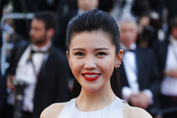 """Actress Yang Zishan poses on the red carpet as she arrives for screening of the film """"Mia madre"""" in competition at the 68th Cannes Film Festival in Cannes"""
