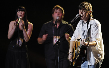 Jon Lilygreen & The Islanders from Cyprus perform their song during a rehearsal for the Eurovision Song Contest in Oslo