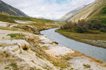 Spring Landscape With River Terek Near Ketrisi Village In Kazbegi