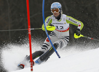Susanne Riesch of Germany competes during the women's slalom race at the Alpine Skiing World Championships in Garmisch-Partenkirchen