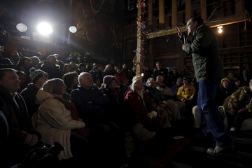 """U.S. Republican presidential candidate and U.S. Senator Ted Cruz answers a question from the audience during a campaign stop at one of former U.S. Senator Scott Brown's """"No BS Backyard BBQ"""" events in Rye"""