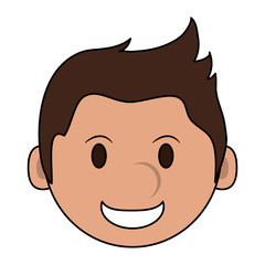 color image cartoon face smiling man with hairstyle vector illustration