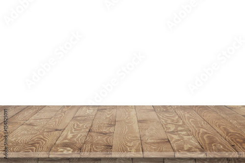 Empty wooden table for product placement or montage with focus to