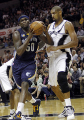 Memphis Grizzlies Anthony drives to the basket against San Antonio Spurs Duncan during Game 2 of the Western Conference NBA basketball playoff's in San Antonio