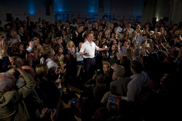 Britain's opposition Conservative Party leader Cameron speaks to supporters after a televised debate in Birmingham