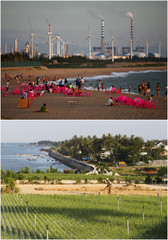 A combination photo shows the coastlines of Dongfang, China (top) and Ly Son island, Vietnam (bottom)