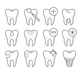 Set of teeth in different conditions, healthy, damaged, clean, with cavity, sensitive, pin, educational poster for clinic, professional stomatology pictogram, health concept. Vector illustration