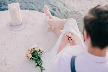 honeymoon wedding couple travel sea side