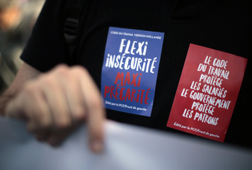 """Stickers which read """"the labour code protects the employees, the government protects the bosses"""" are seen during a demonstration against the French labour law proposal in Nice"""