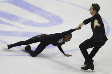 James and Cipres of France perform during the pairs short program at the ISU European Figure Skating Championship in Bratislava