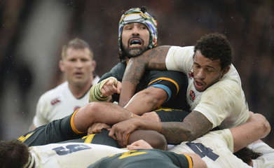 South Africa's Mattfield looks over at England's Lawes during their international rugby union match at Twickenham in London