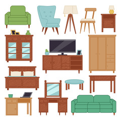 Furniture interior icons home design modern living room house sofa comfortable apartment couch vector illustration