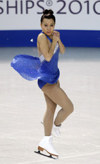 Susanna Poykio of Finland performs during the ladies short program at the European Figure Skating Championships in Tallinn