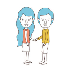 caricature color sections and blue hair of full body couple in casual clothing handshake vector illustration