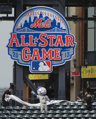 "New York Mets mascot ""Mr. Met"" waves after unveilin 2013 All-Star game logo in New York"