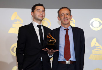 Joe LaPorta and Kevin Killen hold their award during the 59th Annual Grammy Awards in Los Angeles