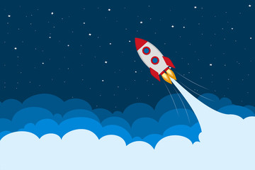 The rocket flies up. Vector illustration in a flat style