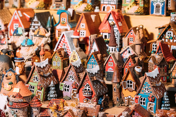 Traditional Souvenirs Small House Toys At European Market. Funny