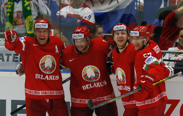 Kostitsyn of Belarus celebrates his goal against Slovakia with team mates during their Ice Hockey World Championship game at the CEZ arena in Ostrava