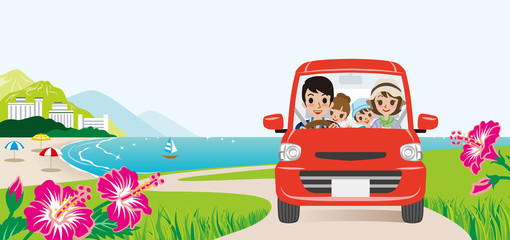 Car driving in the Seaside road, Front view -Family