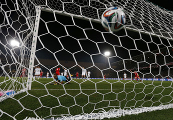 Morocco's Raja Casablanca goalkeeper Khalid Askri concedes a goal to Germany's Bayern Munich during their 2013 FIFA Club World Cup final soccer match in Marrakech