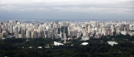 An aerial view of Ibirapuera park with the landscape city of Sao Paulo in the background